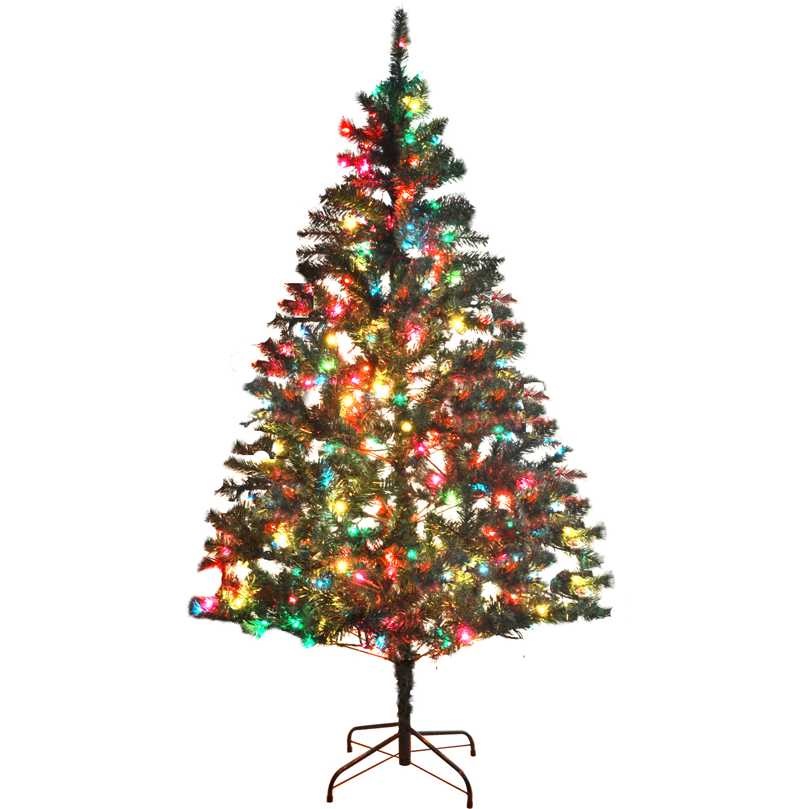 pre lit 6 39 green artificial christmas tree usa multi color lights ebay. Black Bedroom Furniture Sets. Home Design Ideas
